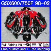 Cuerpo para SUZUKI GSXF 750 600 rojo brillante negro GSXF750 1998 1999 2000 2001 2002 292HM.44 GSX 600F 750F KATANA GSXF600 98 99 00 01 02 Carenado