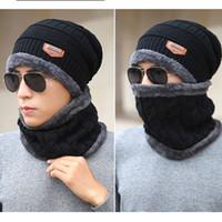 Beanie Hat Eşarp Seti Örme Şapkalar Erkekler ve Kadın Unisex Pamuk Beanie Örme CNY848 Caps için Kalınlaşmak Kış Hat Isınma