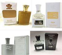 Em estoque Marca Creed homens Perfume Aventus Creed / Verde Irlandês Tweed / Creed Sliver Mountain Water Black Orchid Perfumes com caixa