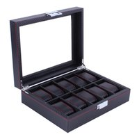 10 Grids Watch Box Carbon Fibre Pattern Watchs Holder Storag...