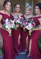 Vestidos de dama de honra Vinho tinto lace sereia vice-pescoço oferecer o lado do ombro Split chão comprimento formal noite vestido de festa de casamento