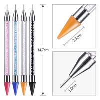 1 adet Çift Sonu Nail Art Süsleyen Kalem Rhinestone Wax Kalem Kristal Boncuk Süslemeleri Pick Çift Yan İpuçları Tasarım Manikür aracı Yeni