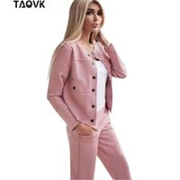 Vestido de duas peças Taovk mulheres camurça de camurça colar de peito uniformes casaco sem colar + calças conjunto feminino streetwear ternos