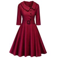 المرأة الأنيقة الربيع النبيذ الأحمر حزب اللباس feminino vestidos أودري 1960 ثانية سوينغ روكبيلي روببوتون أحزمة اللباس الرسمي