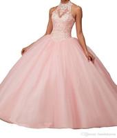 Custom Nouvelle robe de bal à halter sans manches sans dos robe de bal de bal classique Tulle Tulle Dentelle Quinceanera Robes Rouge Rose Teal