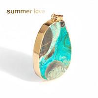 Chegada Nova Oval Azul Turquesa DIY cristal oscila encantos Natural druso de pingente de encanto para Colar Pulseira Pulseira Acessórios fazer jóias
