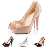 Con scatola del sacchetto di polvere scarpe da donna di lusso del progettista inferiore rosso i tacchi alti in pelle verniciata peep toe pompe 12CM abito da sposa calza il formato 35-42