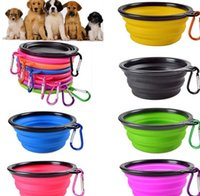 Perro Gato Alimentación Plato Tazón Traverl de agua plegables del hogar alimentador de silicona plegables 18 colores a elegir FY6049