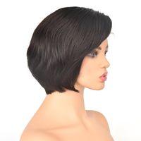 Tutkalsız dantel peruk ile ipek taç kısa 6 inç brezilyalı saç tam handtied peruk ayarlanabilir kap doğal renk