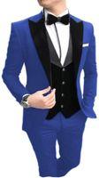 Formales trajes de hombre verde del ejército 2020 Trajes Slim Fit terciopelo solapa del novio Traje para hombre Tuxedo Blazer boda / Prom 3 Piezas