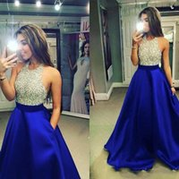 2019 Nuevo Royal Blue Backless Satinado Vestidos de baile Blingbling Halter Beaded Top Corpiño A Line Piso Longitud Fiesta de noche