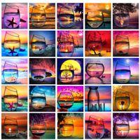 5D Diamant Peinture kits DIY Paysage Coupe plage Broderie Point De Croix Mosaïque Plein Strass wall art toile photos Carré Décor À La Maison
