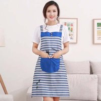 The kitchen apron Sleeveless striped waterproof apron Adult ...