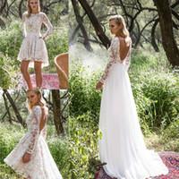 Robes de mariée en dentelle vintage avec jupe détachable manches longues perlé appliques de genou longueur robe de mariée une ligne robe de mariée sans dos