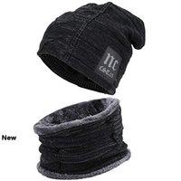 открытый мужские зимние Вязание Hat шарф набор Теплый Cap шарфы Зимние аксессуары шапки шарф 2 шт LJJM2372