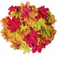 50pcs Yapay Büyük Gevşek Yapraklar Sevimli Düğün Favor Sonbahar Maple İpek Yapraklar Yeşillik Düğün Dekorasyon Güz