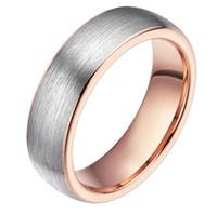 6mm koepel rose goud roze goud plaat wolfraam ring met zilveren geborstelde top oppervlak trouwring hoog gepolijst comfort fit mode-sieraden ring