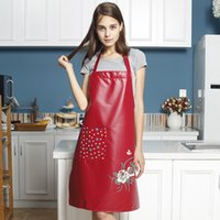 Waterproof oil pu leather apron thickening leather overalls ...