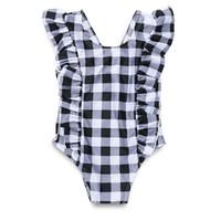 أطفال الرضع مخطط بيكيني ملابس داخلية ملابس بنات أطفال الطفل الاستحمام الكشكشة ملابس الشاطئ المايوه قطعة واحدة جديدة