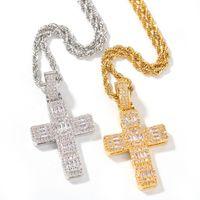 Hip-hop clássico Jesus Pingente Cruz AAA Zircon CZ Stone ouro para fora congelado colares aço inoxidável para homens Street Dance Rapper Jóias