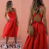 Sıcak Kadınlar Yaz Kırmızı Elbise Vintage Vestidos Boho Strappy Backless Midi Elbiseler Lady Gevşek Bandaj Elbise Parti Plaj Sundress Yeni
