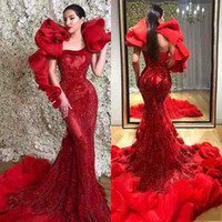 Designer Red Mermaid Evening Gowns 2019 Sexy Ruffles Shoulder Lace Backless Evening Dress Sweep Train Formal Party Prom Dress Custom Made