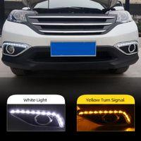 2pcs för Honda CRV CR-V 2012 2013 2014 DRL Körning Dagtid Running Light DRL med sväng Signal dimljus Relä dagsljus bil stil