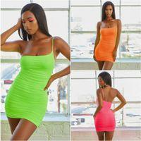 Der Frauen eine Schulter Weste Kleid Abendessen Kleider Frauen Sommer Vestidos Sling Plissee Vest Fluorescent eine Schulter Sexy figurbetontes Kleid plissiert