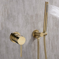 Gold Shower Faucet Set Concealed Wall Mounted Embedded Bathr...