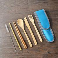 Conjunto de Talheres De Bambu Reutilizáveis Piquenique Talheres Conjunto Utensílios de Viagem De Palha De Plástico Faca Colher Garfo Colher Escova ZC0564
