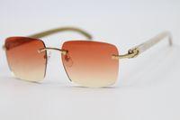 2020 Nouveau mode sans monture Blanc Corne de buffle Lunettes de soleil populaires Hommes Femmes 8.300.816 Cadre véritable Lunettes naturel Taille: 54-18-140mm