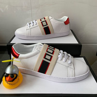 Imprimer chaussures de créateurs de stripe gris de qualité gris ACE brodé femmes brodées hommes véritables chaussures de luxe