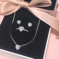 100 % 신부 쥬얼리 925 스털링 실버 상승한 심장 목걸이 반지 귀걸이 jewellry는 여성을위한 약혼 결혼식 액세서리를 설정합니다