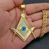 Hip Hop Zircon Paved Pendant Gold Color Stainless Steel Illuminati Eye Freemason Masonic Pendants Necklaces for Men Jewelry