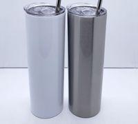 20Oz 30Oz Sublimation Gerade dünne Tumbler Edelstahl-Tumbler doppelt ummauerte Vakuum isoliert mit versiegeltem Deckel und Kunststoffhalm