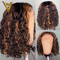 Corto rizado peluca Bob WIG Brasileño Remy Ombre Miel Rubia Rubia Fallo 13x6 Frente de encaje Pelucas para el cabello humano para mujeres Preparado 150