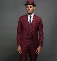 Nueva alta calidad con un solo botón Padrinos de boda Muesca Solapa Novio Esmoquin Trajes de boda de dos piezas para hombre / Prom Best Man Blazer (chaqueta + pantalones + corbata) 225