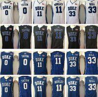 NCAA Duque Blue Devils Jayson # 0 Tatum Jersey # 11 Bobby Hurley Grant # 33 colina azul branco preto faculdade universidade de basquete jerseys