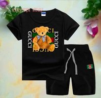 GC Little Bear Little Kids Sets 1-7T T-shirt bambino con scollo a V T-shirt Pure Color 2Pcs / set Bambina bambino in cotone puro Set estivo per bambini