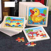 مصغرة الحجم 11 * 11 سنتيمتر الاطفال لعبة الخشب لغز خشبي 3d لغز بانوراما للأطفال الطفل الكرتون الحيوان / المرور الألغاز التعليمية لعبة