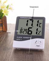 Цифровой ЖК-Хигрометр Температуры Гигрометр Бытовая Точность Часы Измеритель Влажность Термометр с Часы Календарь Аккумуляторная батарея