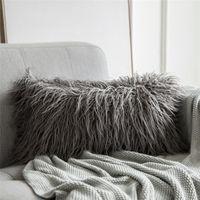 وسادة غطاء وسادة طويلة وسادة الشعر القطيفة القطيفة سلسلة جديدة نمط فو الفراء رمي وسادة نوم أريكة ديكور 30 × 50 سنتيمتر