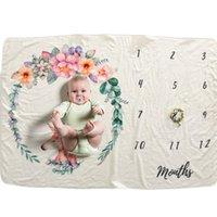 Yenidoğan Bebek Milestone Battaniye Fotoğrafçılık Arkaplan Dikmeler Bebek Fotoğraf Arka planında Bebek Çiçek Numarası Baskı Battaniye 102 * 152cm DBC DH0746