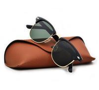 USA Doskonały jakość Moda Designer Okulary przeciwsłoneczne Semi bezbarwny Okulary przeciwsłoneczne dla złota ramki Zielone soczewki szklane z przypadkami fy2208