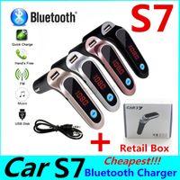 Accessoires voiture BT Adaptateur S7 Transmetteur FM Kit voiture Bluetooth Adaptateur radio FM mains libres avec sortie USB Chargeur de voiture avec boîte de vente au détail