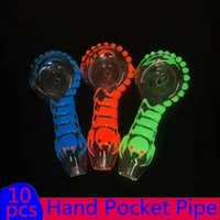 In Stock Glass Hand Pocket Pipe Night_luminous Glow In The Dark Glass Pipes Smoking Tobacco Hand Pipes 4 inch Silicone pipe Spoon pipe