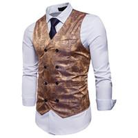 2018 Yeni Stil Moda Katı Erkekler İş Yelek Biçimsel Giyim Derin V Yaka Düğme Pamuk Çiçek Coats