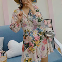 Summer women' s jumpsuit casual flower print button deco...