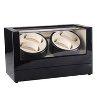 New US Plug 4 Slots Wood Clock Casket Watch Winder Box Lacqu...