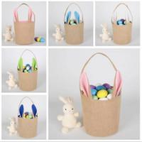 Pascua cesta del conejito del yute del oído de conejo cubo Pascua Huevos de bricolaje bolsa de asas del caramelo creativo del regalo bolso de la historieta linda Festival de Ronda lienzo Pail D9